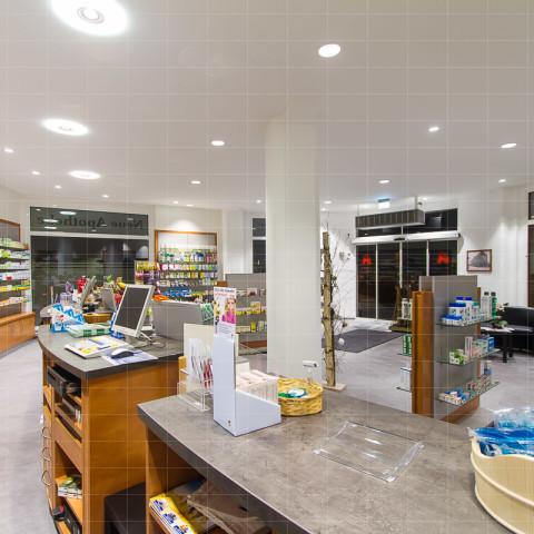 Neue Apotheke Sonneberg, Innenaufnahmen, Beleuchtungskonzept
